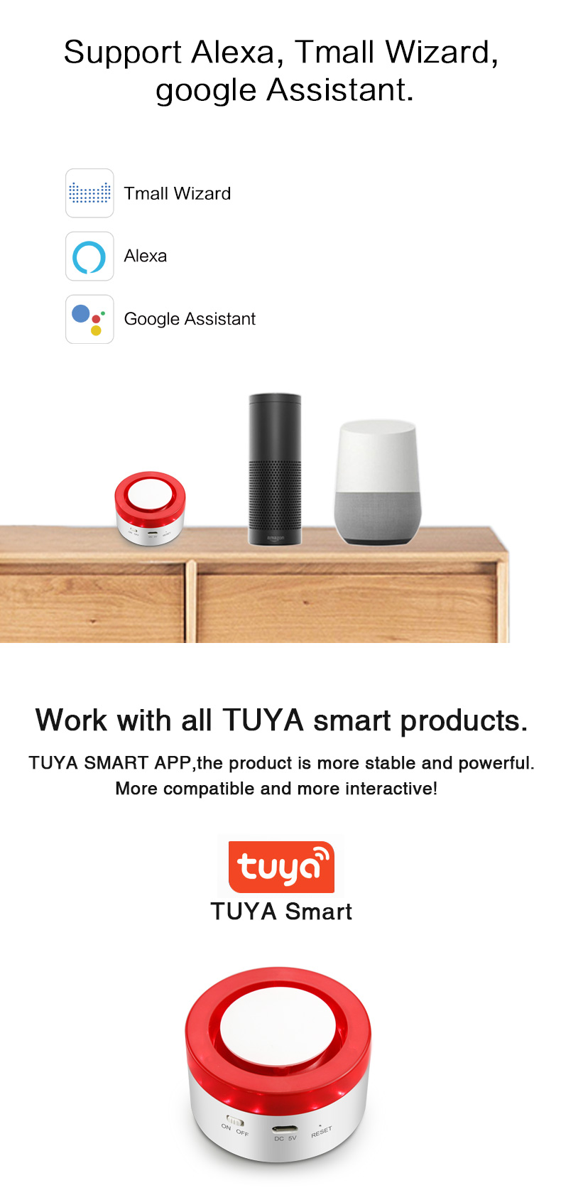 BE-H1 Supports Amazon Alexa, Google Assistant and Tmall Wizard