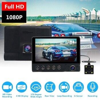 Car DVR Camera 3 Lens 4.0 Inch Full HD 1080P LCD Screen 170 Degree Rear view G-sensor Auto Dash Cam Infrared Night Vision Car Ca фото