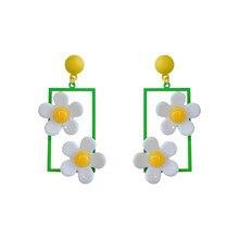 Elegant Flower Pendent Earrings Women Fashion Jewelry Charm Gifts Acrylic Korea Style Dangle Drop