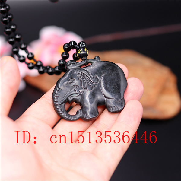 Chinese Black Green Jade Elephant Jade Pendant Natural Obsidian Necklace Charm Jewellery Fashion Luck Amulet Gifts Men Women