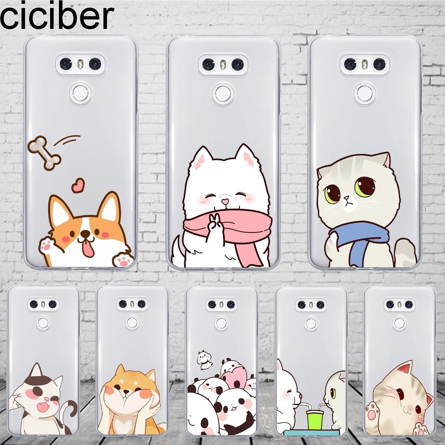 Cartoon Dog Cat Cover For LG G6 G7 G5 G4 V30 V35 V40 THINQ TPU For LG K10 K8 K7 K4 2017 2018 K9 K11 Plus Phone Cases TPU
