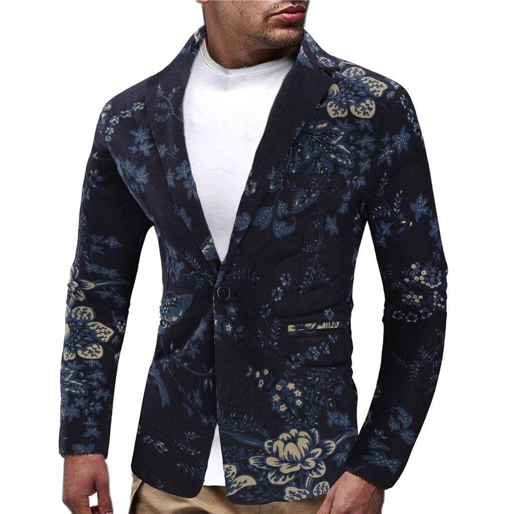Men Blazer Hawaiian Vintage Ethnic Printed Floral Suit Slim Fit Blazer Masculino Blazer Hombre Dropshipping блейзер мужской