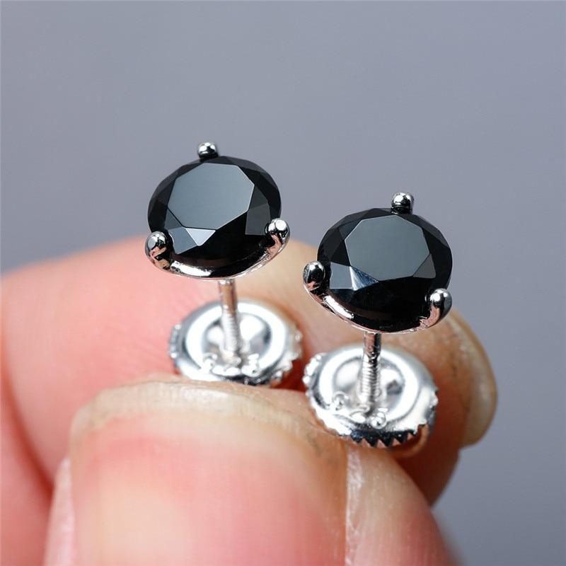 Женские круглые сережки-гвоздики с черным сапфиром, из стерлингового серебра 925 пробы, 6 мм