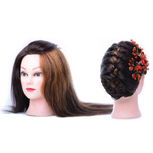 100% real human hair hairdresser cosmetology silicone practice training mannequin manikin head doll with mount hole 100% Human Hair Cosmetology Mannequin Manikin Training Head Doll Head With Comb In Mannequins