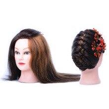 100% Человеческие Волосы Косметология Манекен Манекен Обучение Голова Куклы Для Парикмахеров С Расческой В Манекены