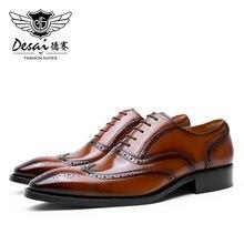 DESAI Men Shoes Genuine Leather Designer Shoes For Men Formal Work Dress Casual Bullock Brogue 2020 New Arrivals High Quality