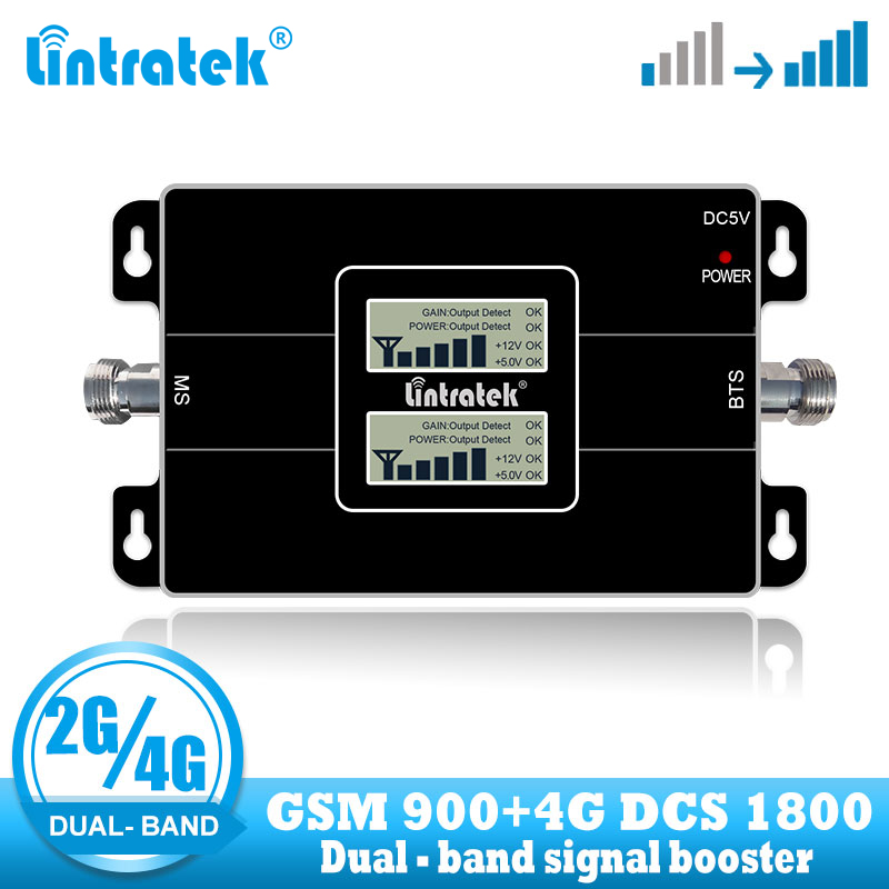 Lintratek Free Shipping 4G Lte 1800 cellular signal repeater GSM 900 Mobile Phone Amplifier 2G 65dB Dual Band Signal Booster