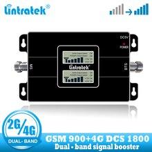Lintratek Vận Chuyển Miễn Phí 4G LTE 1800 Tế Bào Lặp Tín Hiệu GSM 900 Bộ Khuếch Đại 2G 4G 65dB băng Tần Kép Tăng Cường Tín Hiệu