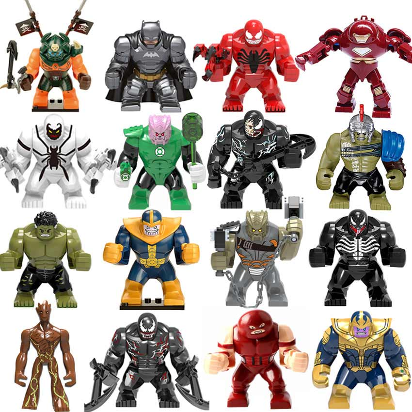 Bricks Toys Figures Building-Block Thanos Duploe Spiderman Hulk Venom Batman Iron Man