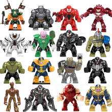 Big Size Building Block Figures Thanos Venom Hulk Batman Spiderman Iron Man endgame Compatible Duploe bricks Toys For Childrens(China)