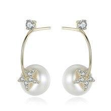 YUEYIN 8-9mm 100% Real Pearl Earrings Stud Earrings S925 Silver Jewelry for Women Star Earrings Cute Fine Fashion Hot 3 Colors цена 2017