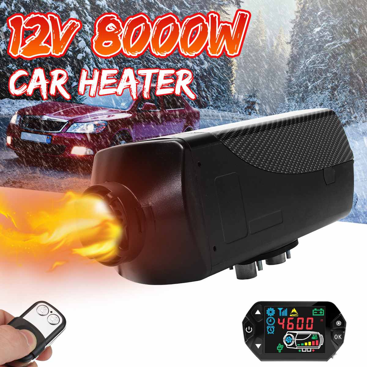 Car Heater 12V 8KW Simple Version For Webasto Heating Air Diesel Heater 2 Air Outlet LCD Display + Remote Control For RV Boat