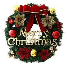 Рождественский бант шар цветок ротанга венок из виноградных листьев рождественские вечерние подарки садовые настенные двери кулон рождественские украшения для дома