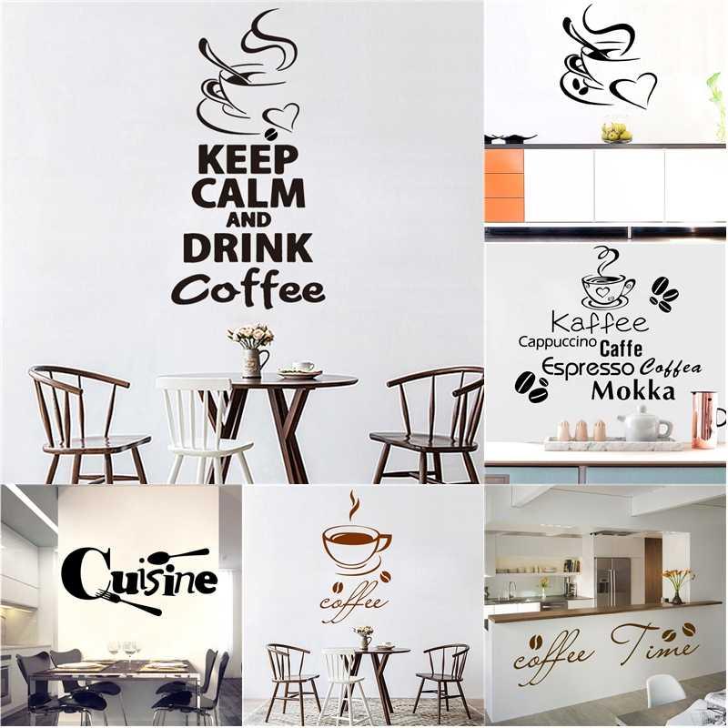 Ukuran Besar Kopi Vinil Stiker Dinding Kopi Toko Dekorasi Wallpaper untuk Aksesoris Dapur Dekorasi Stiker Dinding Stiker