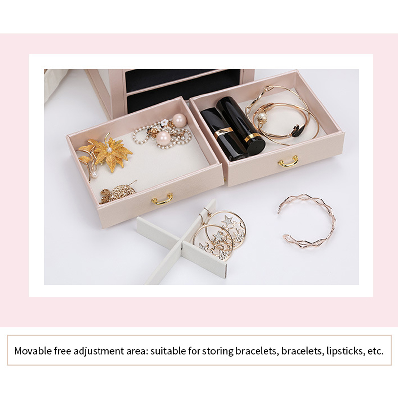 High Quality Jewelry Box Large Capacity Leather Storage Jewelry Box Earring Ring Necklace with Mirror Watch
