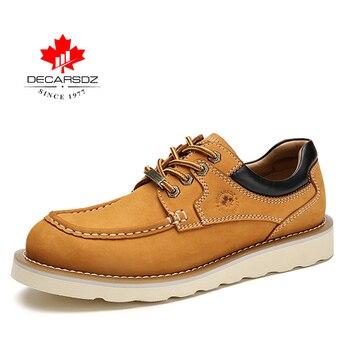 DECARSDZ Genuine leather Men Shoes Autumn New Comfy Lace-up Men Casual Shoes Man outdoor Durable outsole Men's Shoes Size 38-45 - DK-LWS-1001-4, 45