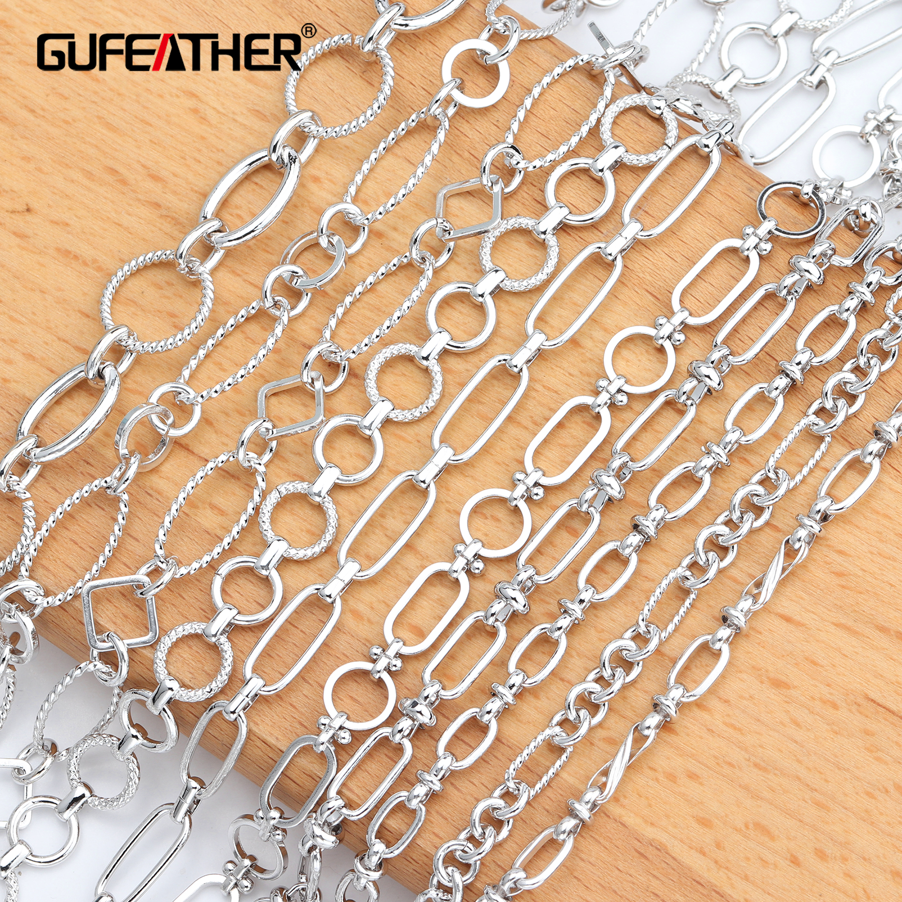 GUFEATHER C61,jewelry Accessories,copper Chain,platinum Plated,environmental Protection,diy Chain Necklace,jewelry Making,1m/lot