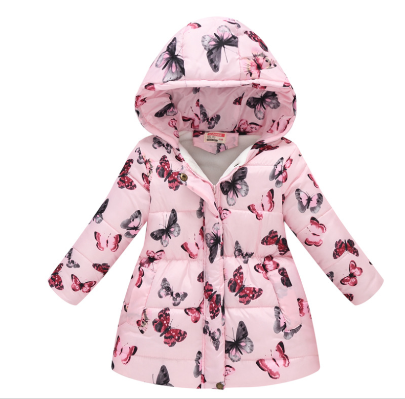 Children's Long-sleeved Cotton Jacket Girl Sweet Butterfly Pattern Mid-length Hooded Coat