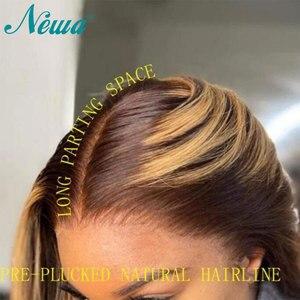 Image 3 - Newa Hair pelucas de cabello humano recto con encaje frontal, 13x6, prearrancadas con pelo de bebé, reflejos ombré, pelucas frontales de encaje Remy brasileño