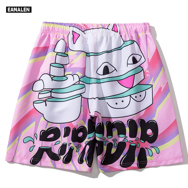 summer basketball shorts pink cartoon graphic beach pants men hip hop Harajuku vintage dancing shorts women Bermuda fashion