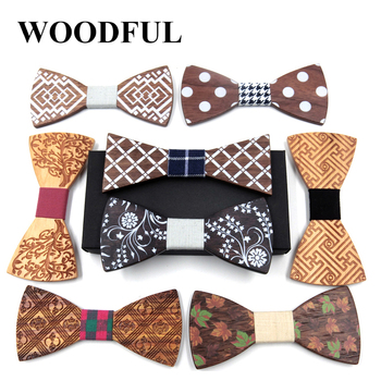 Woodful Wooden Bow Tie Handkerchief Set Men's Plaid Bowtie Wood Hollow carved cut out Floral design And Box Fashion Novelty ties j c hollow square design emerald cut amethyst pink