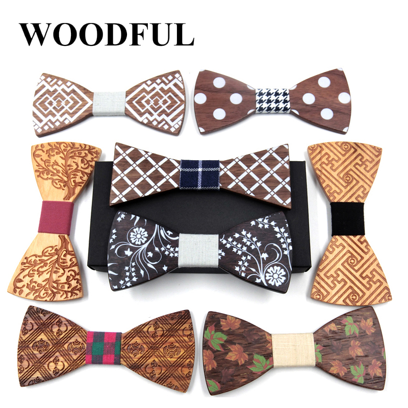 Woodful Wooden Bow Tie Handkerchief Set Men's Plaid Bowtie Wood Hollow carved cut out Floral design And Box Fashion Novelty ties