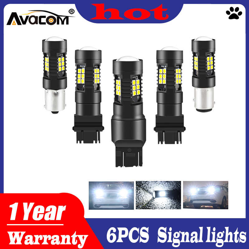 Avacom 6Pcs Car Light 1156 LED BA15S P21W LED BAU15S PY21W BAY15D 1157 P21/5W R5W 21 SMD 3030 Auto Lamp Bulbs LED 12V - 24V