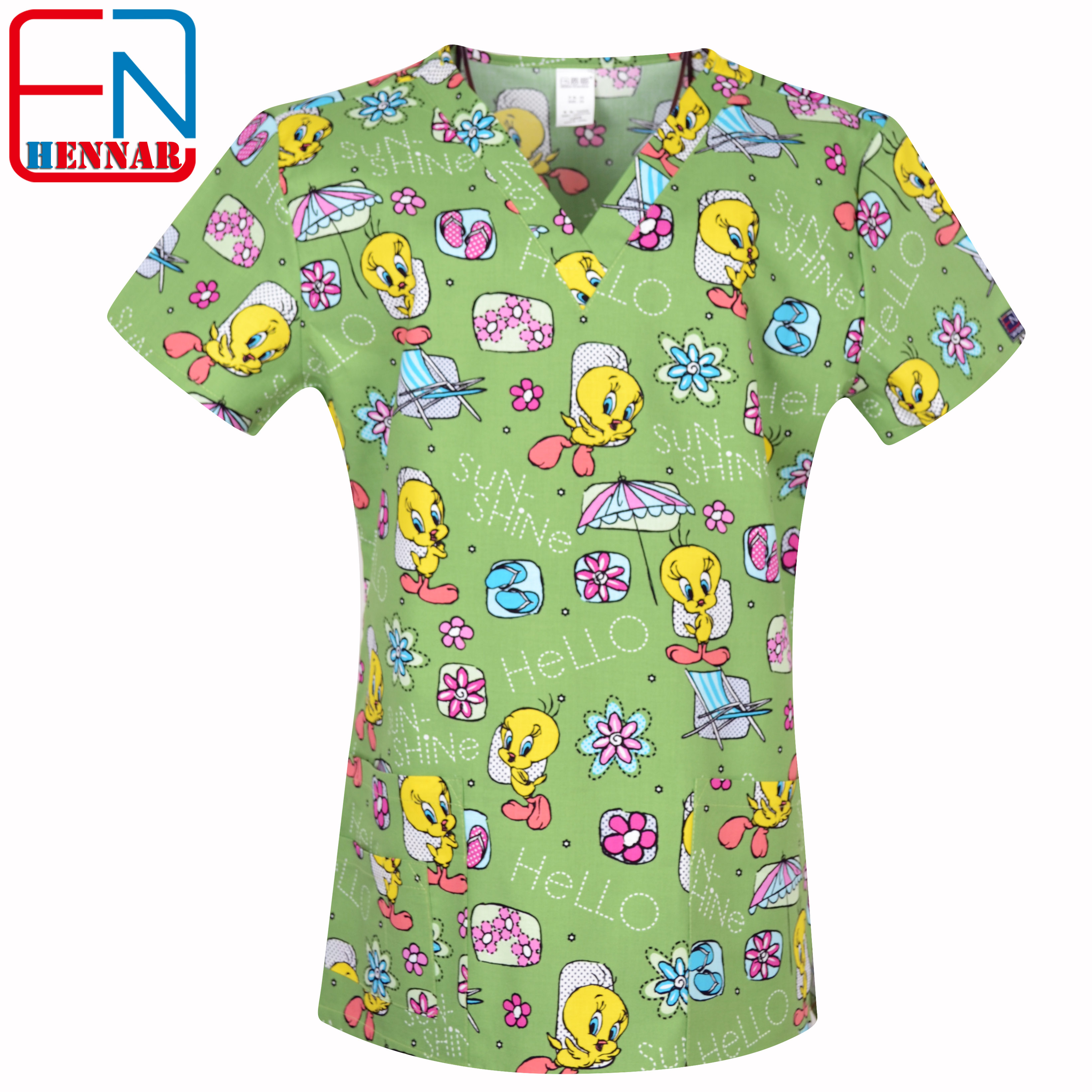 Image 4 - Hennar Women medical scrub tops in 100% cotton scrubs,women scrub tops,women medical uniforms-in Scrub Tops & Bottoms from Novelty & Special Use