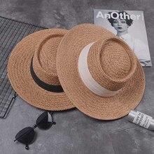 Women Summer Beach Sun Cap 2019 New Brand Flat Top Straw Hat Fashion Girl Ribbon Beach Hat Bone Feminino Gorra