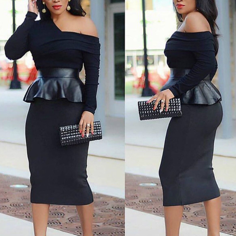 <font><b>Sexy</b></font> <font><b>Women</b></font> <font><b>Dresses</b></font> Off Shoulder Peplum Patchwork PVC <font><b>Bodycon</b></font> Officewear <font><b>Long</b></font> Sleeves Package Hip <font><b>Black</b></font> Plus Size XXL Female Robe image