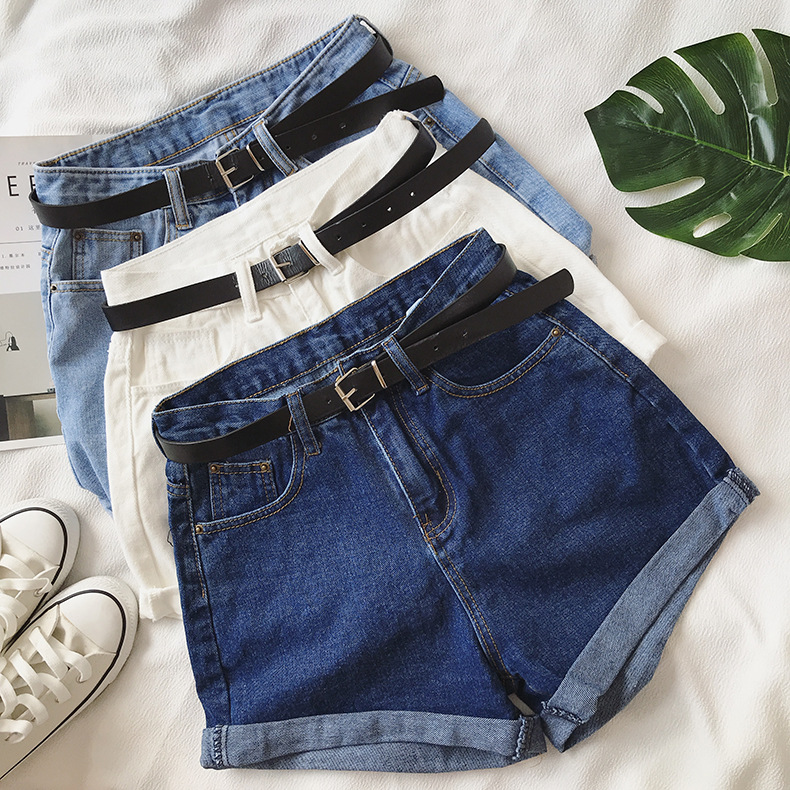 H74c2f1b444c543349c474375f97865192 - Women Summer Shorts Fashion Free Belt High Waist Loose Casual Slim Denim Shorts Women Shorts Jeans mujer femme Korea Shorts