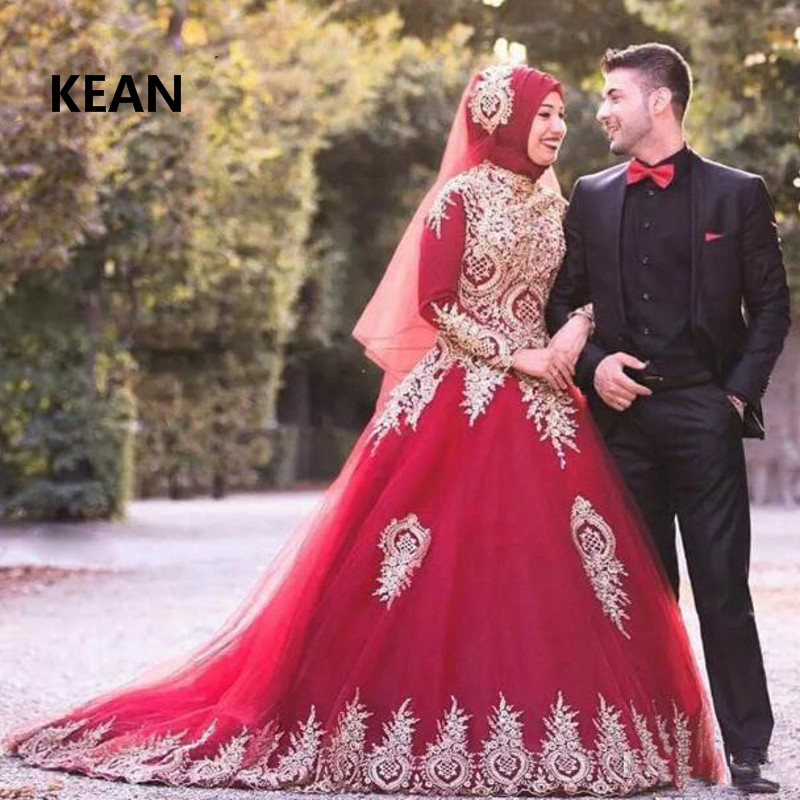 Red Muslim Wedding Dresses Full Sleeves Ball Gown Appliques Scarf Vestido De Noiva Dubai Arabic Wedding Gown Bride Dress