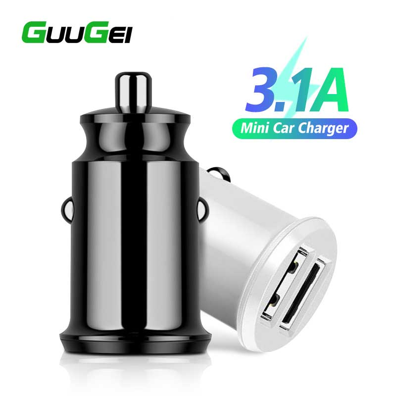 GUUGEI Mini USB <font><b>Car</b></font> <font><b>Charger</b></font> Multi-function Fast Charging For Huawei Mate30 Pro Xiaomi Dual USB 2 Port 3.1A <font><b>Power</b></font> <font><b>Adapter</b></font> in <font><b>Car</b></font> image