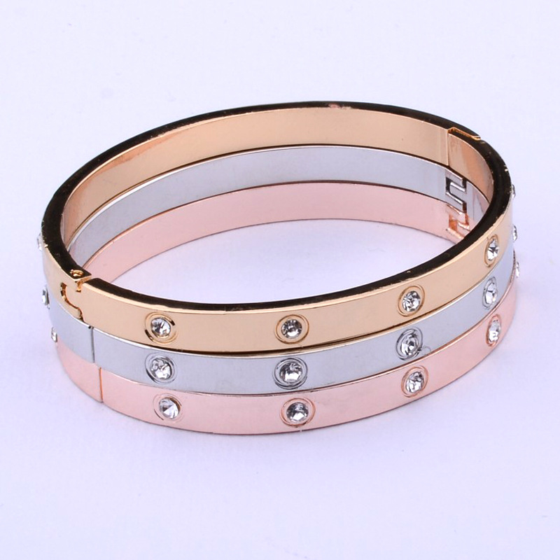 H74c3113089d148e2896df2e6ce9c4cd8W - New Fashion Classic Women's Bangles For Women Gold Rose Gold Silver Color Rhinestone Bracelet Cuff Simple Trendy Jewelry