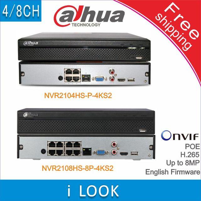 Dahua – système de sécurité CCTV, livraison gratuite, NVR2104HS-P-4KS2 NVR2108HS-8P-4KS2, 4 canaux, 8 canaux, POE NVR 4K, enregistreur, Support HDD 4/8 canaux