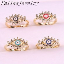 10Pcs 2018 Top Quality Gold Color Enamel Eye Adjustable Size Fashion Delicate Simple Ring(China)