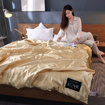 2019 New 100% Silk Comforter Summer Blanket Quilt Duvet Washable Ice Soft Silk Air Conditioning Comforter Quilt Blanket