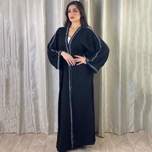 MD Open Abaya Dubai Turkey Muslim Turkish Beaded Dress Indonesia Arabic Black Kaftan African Plus Size Maxi Dresses Evening Gown