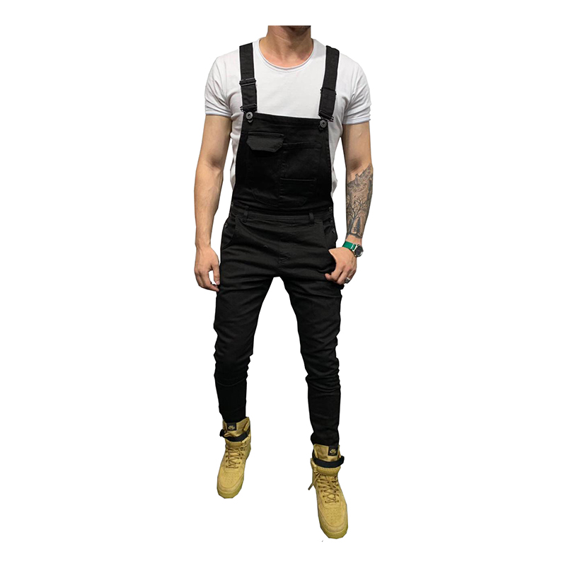 Sokotoo Men's Skinny Stretch Denim Bib Overalls Slim Jeans Suspenders Jumpsuits Black White Army Green Red Khaki