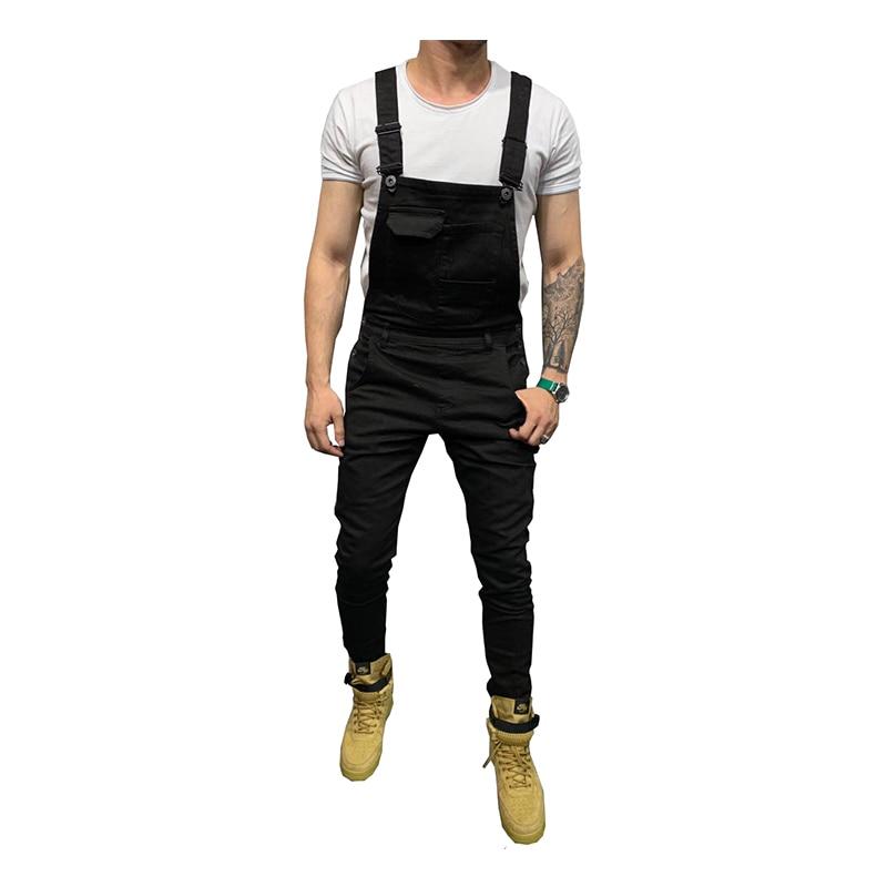 Sokotoo Men's skinny stretch denim bib overalls Slim jeans Suspenders jumpsuits Black White Army green Red khaki