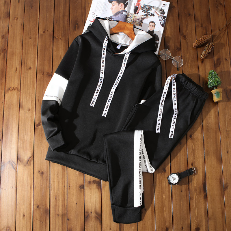 MEN'S Hoodie Leisure Suit 2019 Spring And Autumn New Style Handsome Korean-style Trend Sports Clothing Popular Brand Autumn Clot