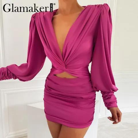 Glamaker Sexy deep v neck bodycon dress Party club hollow out mini dress Elegant winter autumn chic lantern sleeve satin dress