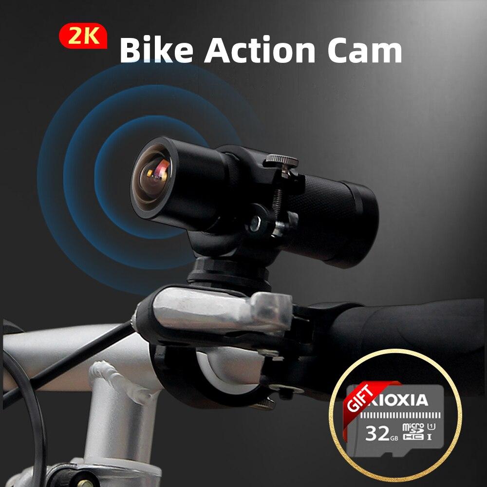 Vsys 2k hd câmera de ação esportes dvr para motocicleta wearable mountain bike bicicleta capacete cam visão noturna vlog mini dv wifi app
