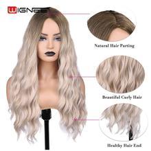 Wignee Ombre uzun dalgalı isıya dayanıklı sentetik peruk kadınlar için siyah sarışın amerikan Cosplay/parti orta kısmı doğal saç peruk