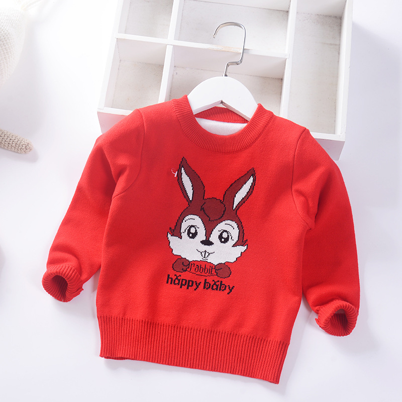 Baby Pullover Sweater 2019 Autumn And Winter New Style Girls Bottoming Shirts KID'S Jacket Cartoon Double Layer Pullover Sweater