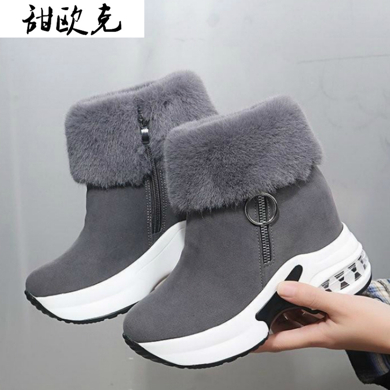 Women Ankle Boot Warm Plush Winter Shoes for Woman Boots High Heels Ladies Boot Women Snow Boots Winter Shoes Height Increasing