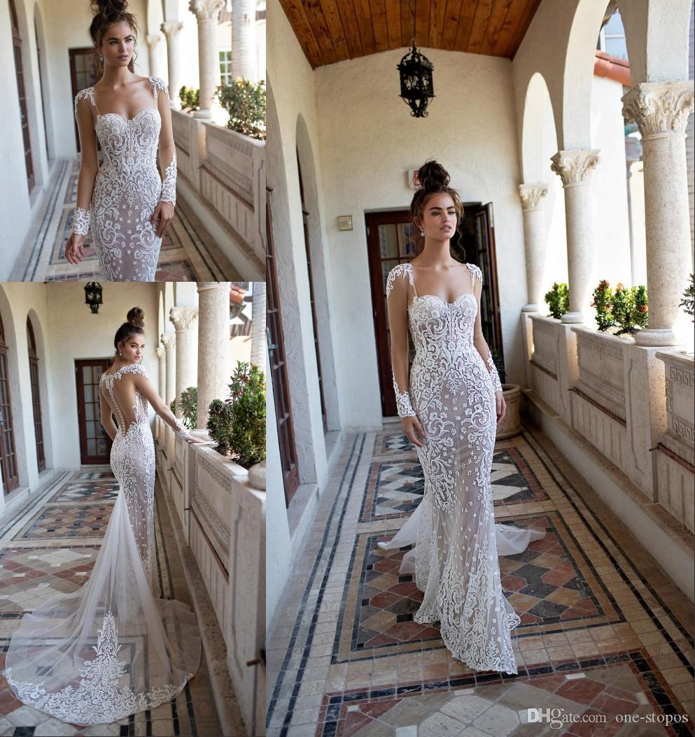 2020 New Berta Wedding Dresses Mermaid Sweetheart Long Sleeves Lace Appliqued Pearls Sweep Train Wedding Bridal Gown Custom Made