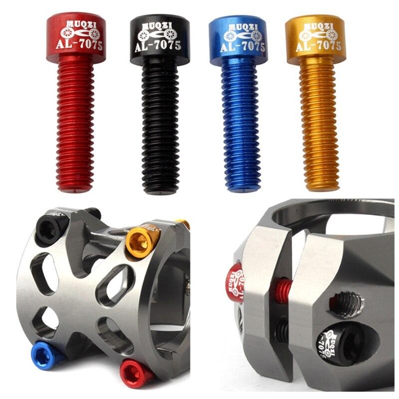 4 Uds M5 tornillos del vástago de la bicicleta pernos ultraligeros AL 7075 de aluminio del vástago de ciclismo tornillos de moto herramientas de reparación de repuesto