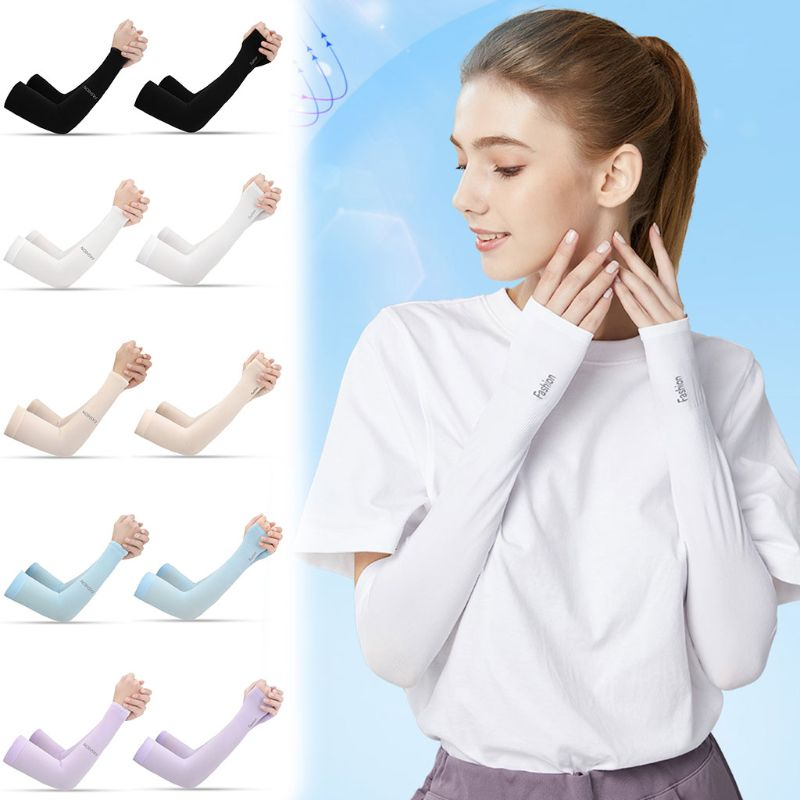 Women Men UV Protection Cooling Arm Sleeves Compression Sunscreen Long Cover Fingerless Gloves For Running Cycling Fishing Sport