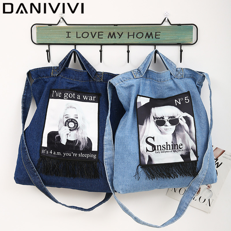 Large Capacity Denim Tote/Shopping Bags For Women 2020 Fashion 3D Printing Reusable Women's Shoulder Bag Women Messenger Bags